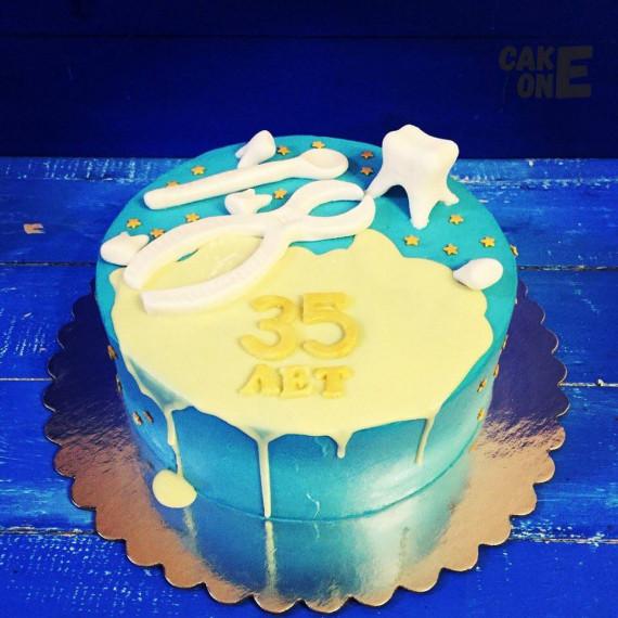 Голубой торт для стоматолога