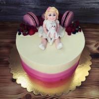 Трехцветный торт с девочкой и зайцем