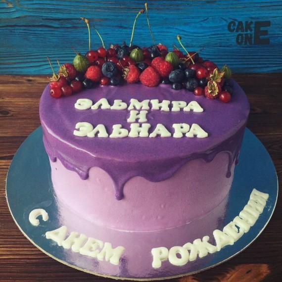 Торт с сиреневой глзурью и надписью