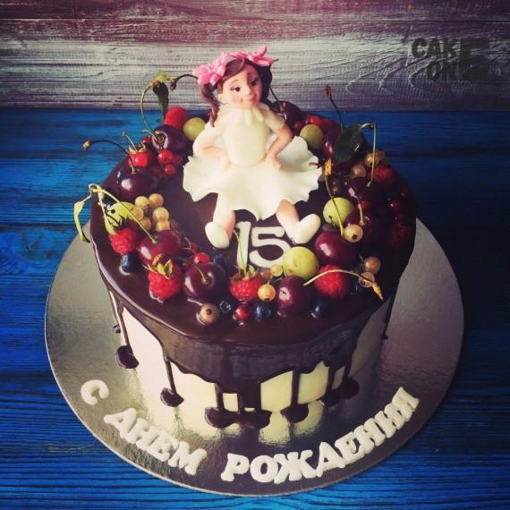 Торт на 15 лет с куклой