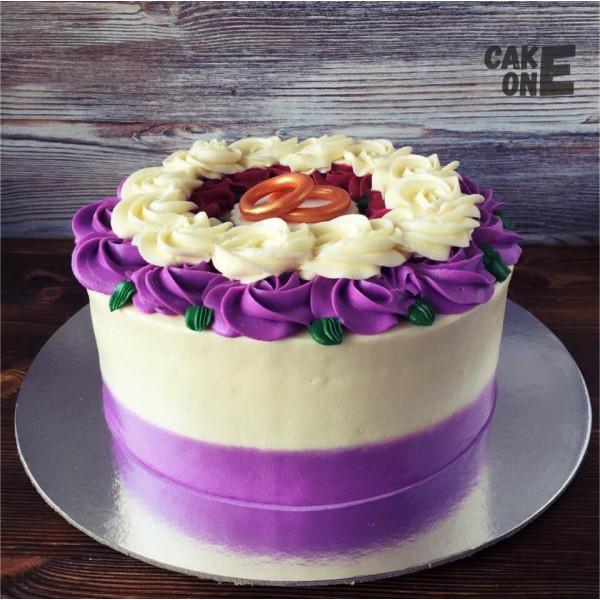 Торт с обручальными кольцами