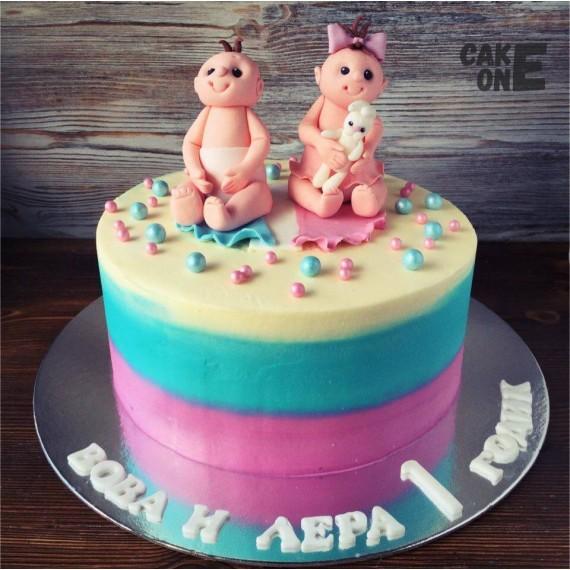 Торт для близнецов с пупсами