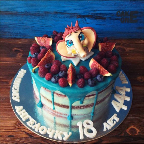 Торт с мамонтенком с голубой глазурью