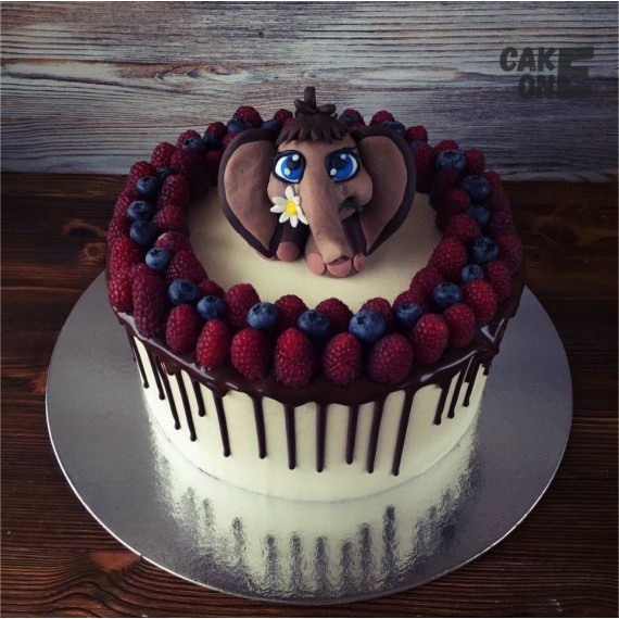 Торт с мамонтнком и венком из малины