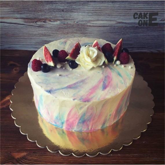 Мраморный торт с белой розой