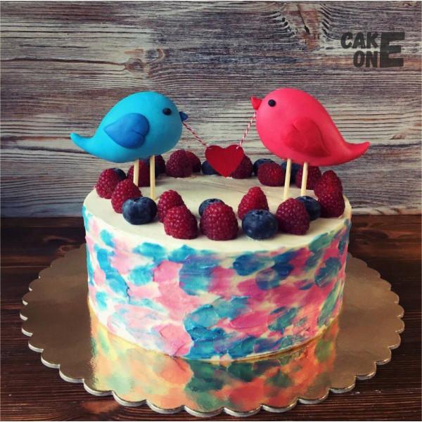 Торт с двумя птичками