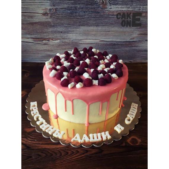 Торт с малиной и маршмеллоу
