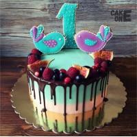 Торт на 1 год с птичками