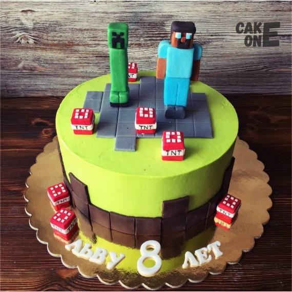 """Торт """"Minecraft"""" желтый"""