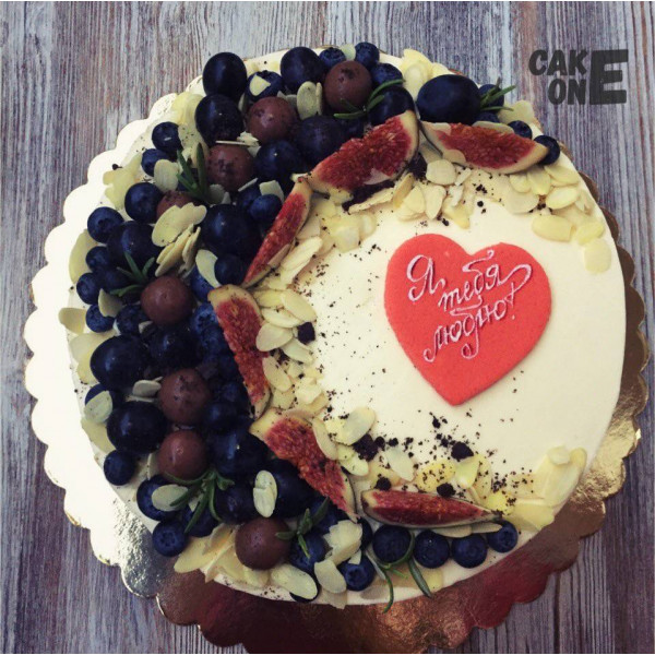 "Торт с фруктами ""Я тебя люблю"""