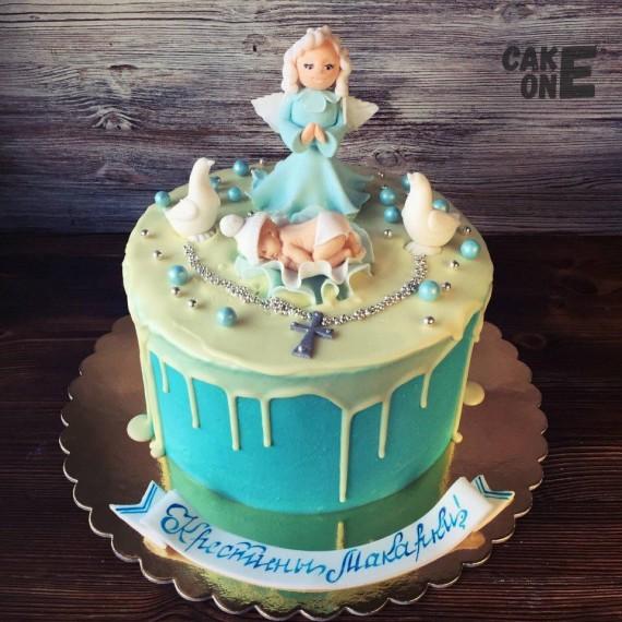 Торт на крестины с ангелом и младенцем