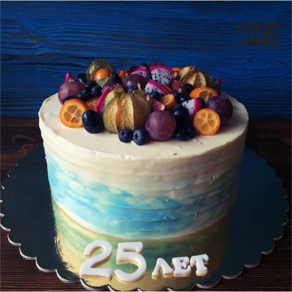 Торт на 25 лет с фруктами