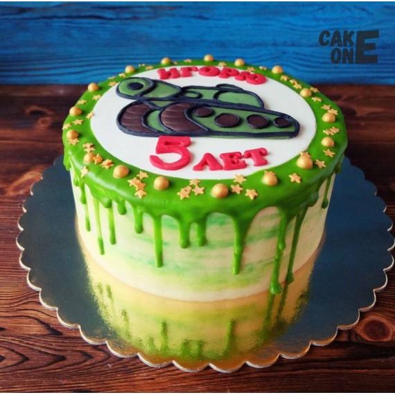 Торт на 5 лет с танком