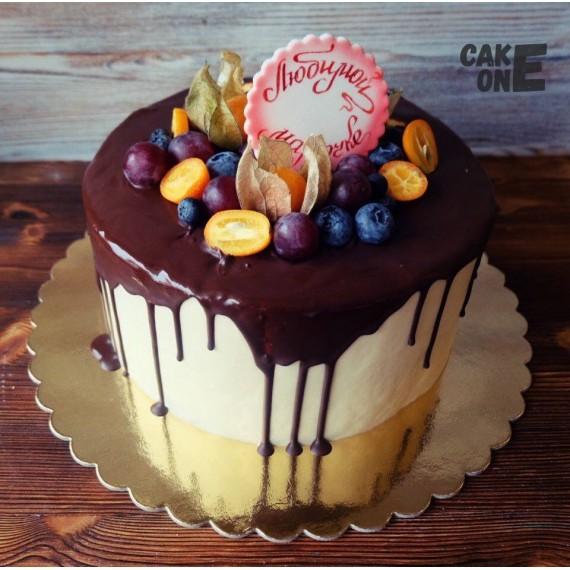 Торт для мамы с шоколадной глазурью