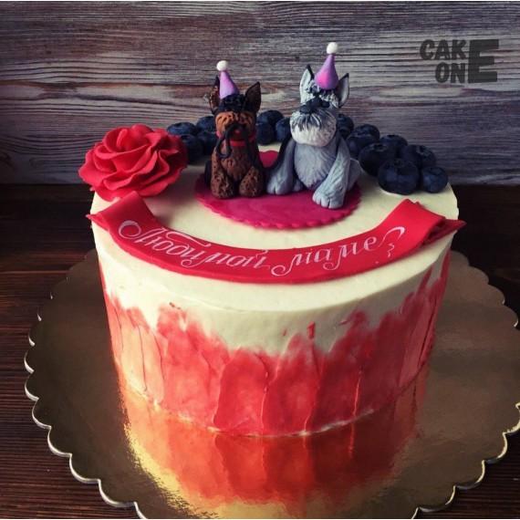 Торт для мамы с собаками