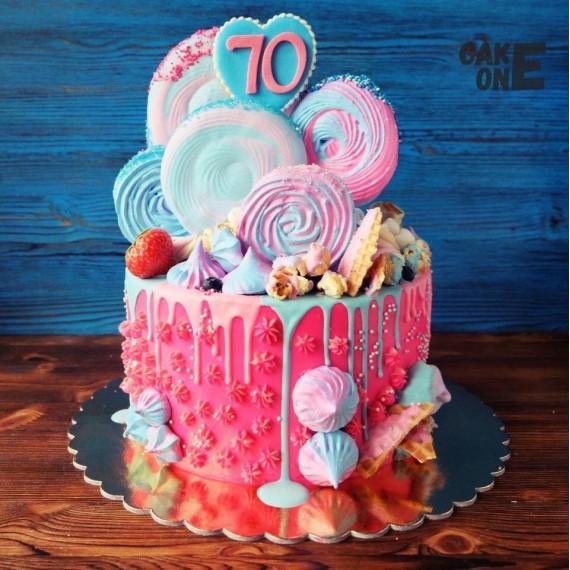 Торт на 70 лет с разноцветным зефиром