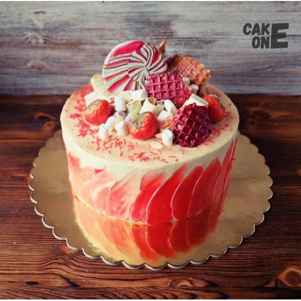 Торт с разноцветными вафлями