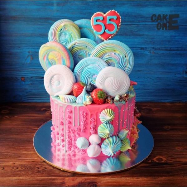 Торт на 55 лет с разноцветным зефиром