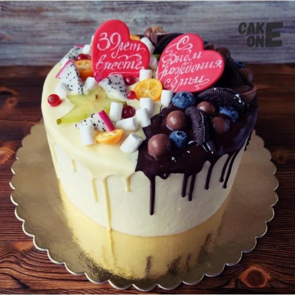 Торт с двумя сердцами на годовщину