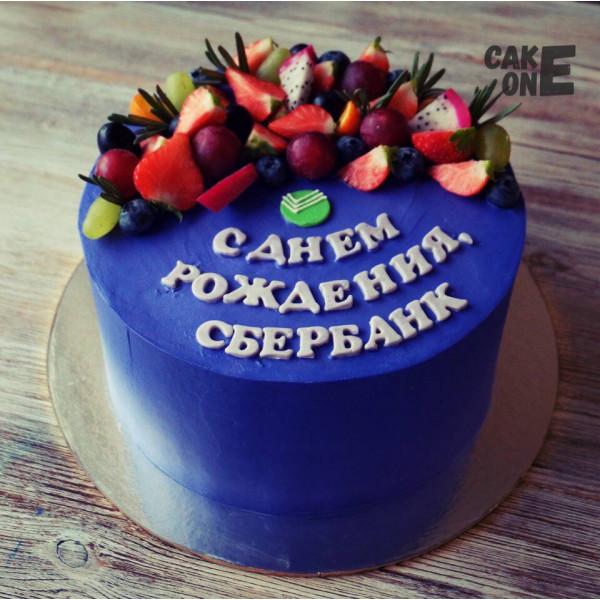 """Торт для """"Сбербанка"""" с эмблемой"""