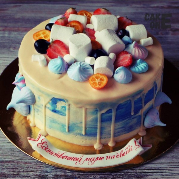 Торт маме с зефиром и маршмеллоу