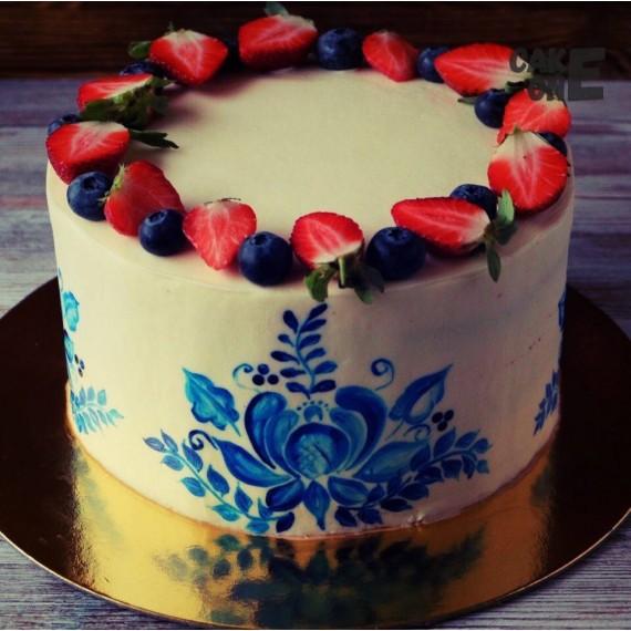 Торт с ручной росписью в виде цветов