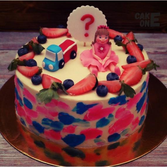 Торт с машинкой и куклой