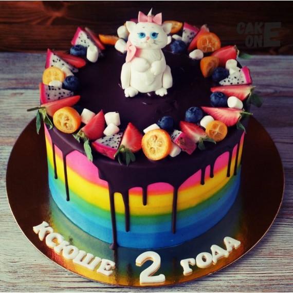 Торт-радуга с кошечкой