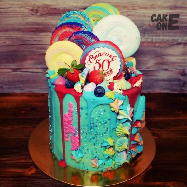 Торт на юбилей с большим цветным зефиром