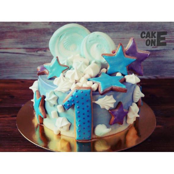 Торт на 1 год с большим зфиром и звездами