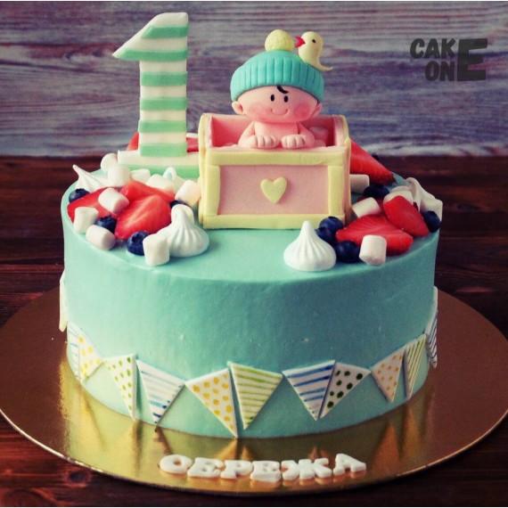 Торт на 1 год с малышом в коробке