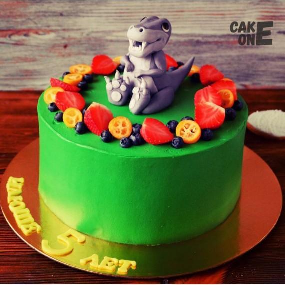 Зеленый торт с динозавром
