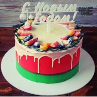 """Красно-зеленый торт  """"С Новым Годом"""""""