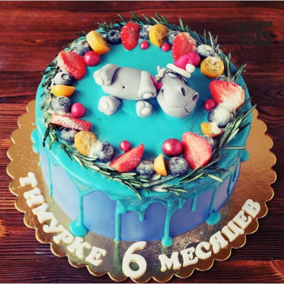 Торт с бегемотиком