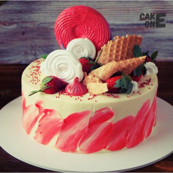 Торт с зефиром и вафлей