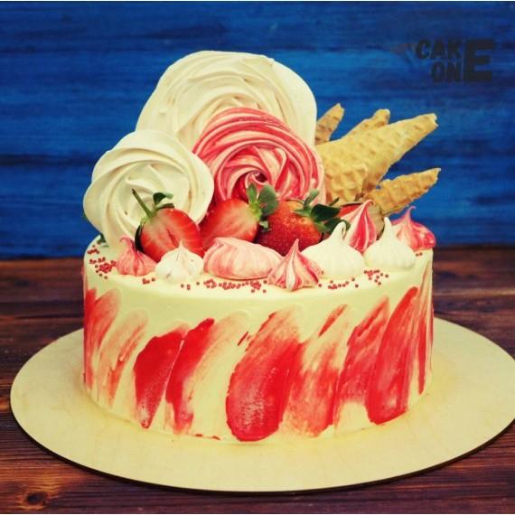 Торт с крупным зефиром и вафлей