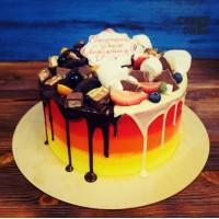 Градиентный торт с двухцветной глазурью