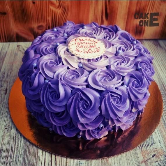 Торт в сиреневых цветах