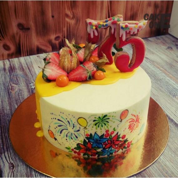 Торт с ручной росписью на 75 лет