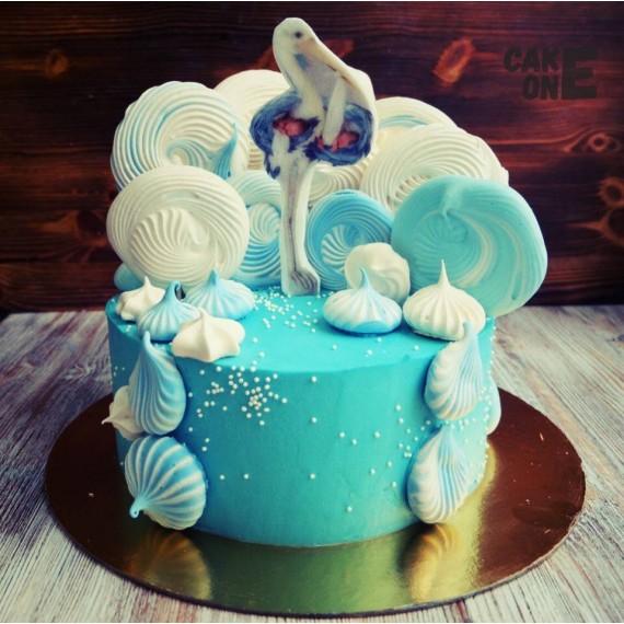 Торт с аистом и крупным зефиром
