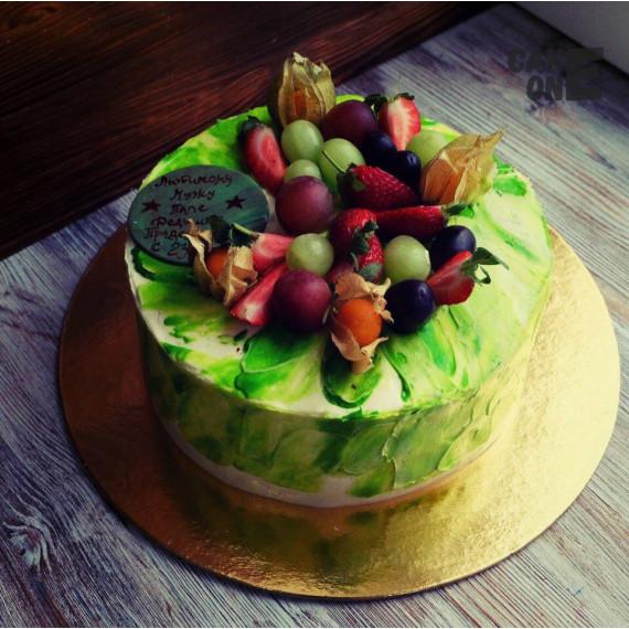 Торт с зелеными мазками для мужа
