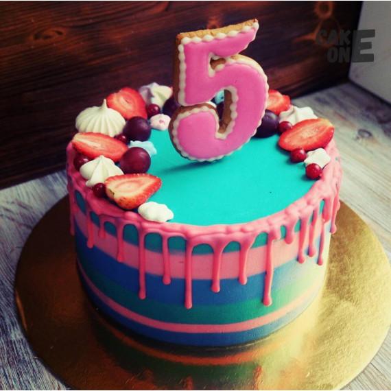 Разноцветный торт на 5 лет
