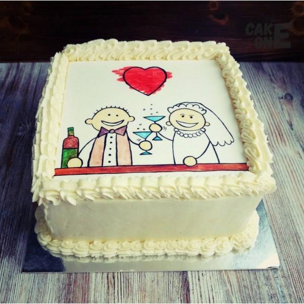 Торт с рисунком жениха и невесты