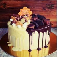 Торт для мужа с двухцветной глазурью