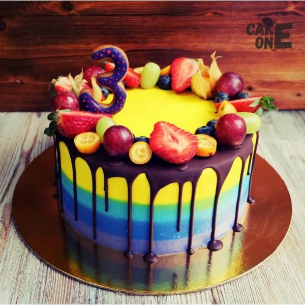 Торт-радуга на 3 года