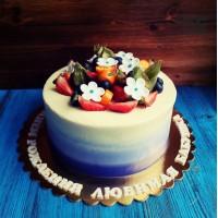 Трехцветный торт с цветами для бабушки