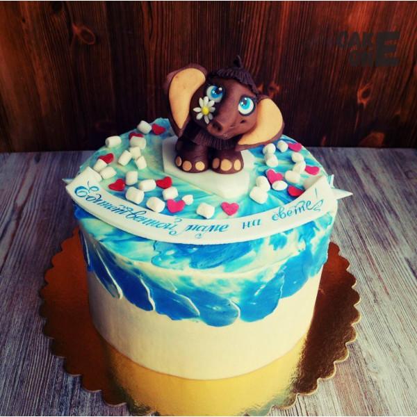 Торт для мамы с мамонтенком