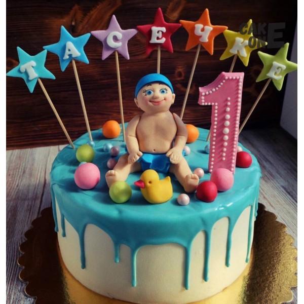 Торт на 1 год с уточкой и малышом