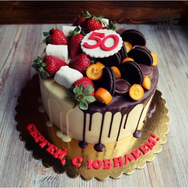 Торт на 50 лет с двухцветной глазурью