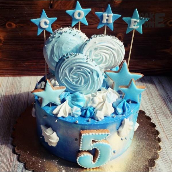 Голубой торт с голубым зефиром